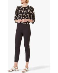 Hobbs Mallory Cotton Blend Capri Trousers With Stretch - Black