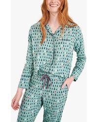 White Stuff Skylar Tree Print Pyjama Shirt - Blue
