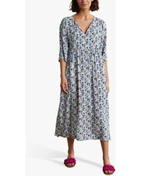 Boden Empire Floral Print Midi Dress - Blue