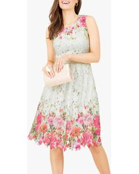 Yumi' Mirrored Floral Lace Skater Dress - White