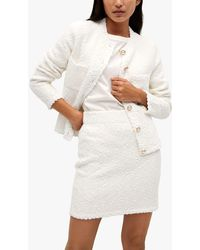 Mango Tweed Mini Skirt - White