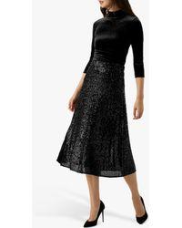 Pure Collection Sequin Midi Skirt - Black