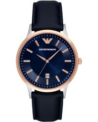 Emporio Armani - Ar2506 Men's Dress Date Leather Strap Watch - Lyst