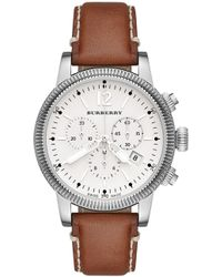 Burberry - Bu7817 Men's The Utilitarian Chronograph Date Leather Strap Watch - Lyst