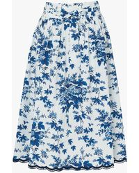 L.K.Bennett Hodgkin Floral Print Skirt - Blue