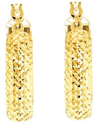John Lewis - Ibb 9ct Yellow Gold Diamond Cut Creole Earrings - Lyst