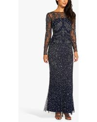 Adrianna Papell Jersey Floral Embellished Maxi Gown - Blue