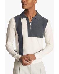 Reiss Braydon Colour Block Knitted Polo Top - Multicolour