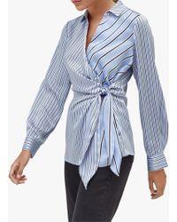 Warehouse - Mixed Stripe Tie Side Shirt - Lyst