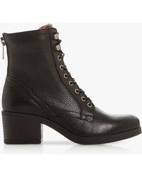 Bertie Leather 'painter' Mid Block Heel Shoes Boots - Black