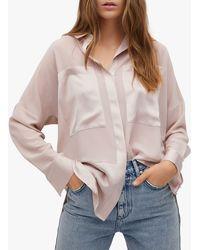 Mango Oversize Satin Shirt - Pink