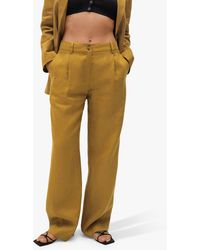Mango Linen Straight Trousers - Natural