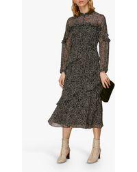 Whistles Macy Sketched Floral Dress - Black