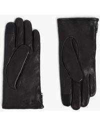 AllSaints Zipper Leather Gloves - Black