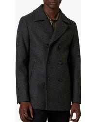Ted Baker Westun Double Breasted Wool Pea Coat - Grey