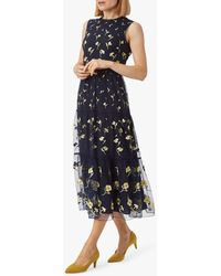 Hobbs Bethany Embroidered Dress - Blue