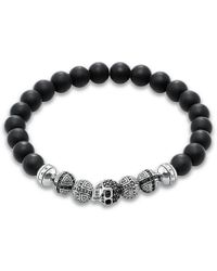 Thomas Sabo - Men's Sterling Silver Rebel At Heart Obsidian Bead Skull Stretch Bracelet - Lyst