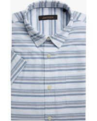 Jaeger Horizontal Textured Stripe Short Sleeve Shirt - Blue