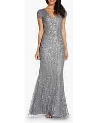 Adrianna Papell Beaded Mesh Embellished Maxi Gown - Grey