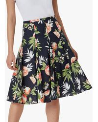 Hobbs Melina Floral Midi Skirt - Blue