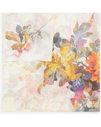 Modern Rarity Pastel Floral Square Silk Scarf - Multicolour