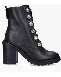 Kurt Geiger Studded Block Heel Biker Boots - Black