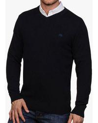 Raging Bull Cotton Cashmere V-neck Jumper - Blue