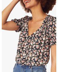 Oasis Brooke Ditsy Floral Top - Black