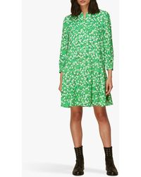 Whistles Cherry Blossom Print Shift Dress - Green
