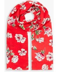 Joules Conway Floral Print Scarf - Red