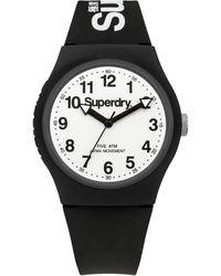 Superdry Printed 'urban' Analogue Silicone Strap Watch Syg164bw - Black