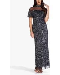 Adrianna Papell Beaded Sheer Neck Maxi Gown - Blue