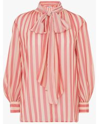 L.K.Bennett Holzer Stripe Tie Neck Top - Pink