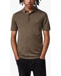 AllSaints Mode Merino Short Sleeve Polo Shirt - Multicolour