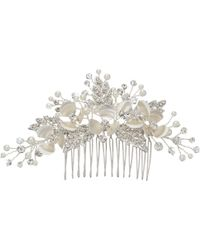 Ivory & Co. - Passionflower Crystal And Faux Pearl Flower Hair Slide - Lyst