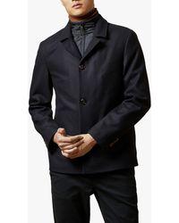 Ted Baker Wilsun Detachable Inner Layer Wool Coat - Blue