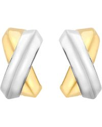 Ib&b - 9ct Gold Two Colour Crossover Kiss Stud Earrings - Lyst