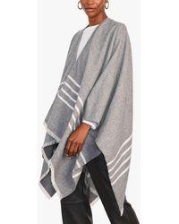 Jigsaw Stripe Wool Cotton Cape - Grey