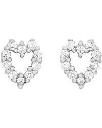 Ib&b - 9ct White Gold Small Heart Stud Earrings - Lyst