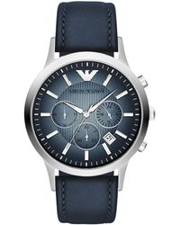 Emporio Armani - Ar2473 Men's Chronograph Degrade Dial Leather Strap Watch - Lyst