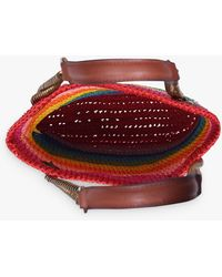 Kurt Geiger Chelsea Rainbow Small Raffia Tote Bag - Red