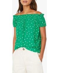 Warehouse Polka Dot Bardot Top - Green