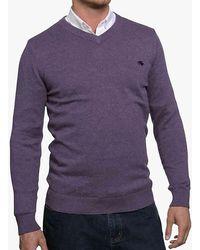Raging Bull Cotton Cashmere V-neck Jumper - Purple