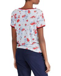 Lauren by Ralph Lauren - Short Sleeved Striped And Floral Print T-shirt - Lyst