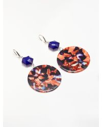 One Button - Marble Disc Drop Earrings - Lyst