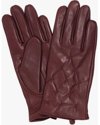 Phase Eight Laurie Leather Pintuck Gloves - Purple