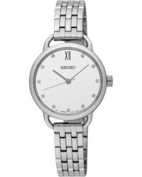 Seiko - Sur697p1 Women's Swarovski Crystal Bracelet Strap Watch - Lyst
