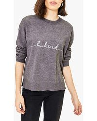 Oasis Be Kind Embroidered Knit - Grey