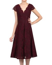 Jolie Moi Cap Sleeved Lace Dress - Purple