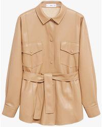 Mango Faux Leather Belt Jacket - Natural